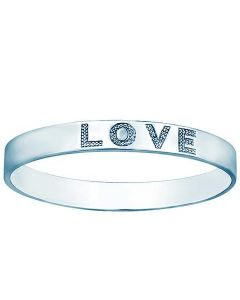 LOVE bangle bracelet real diamond and sterling silver