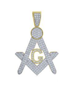 10kt Yellow Gold Mens Round Cubic Zirconia CZ Masonic Charm Pendant