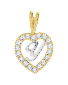 10kt Two-Tone Gold Women Round Cubic Zirconia CZ Heart