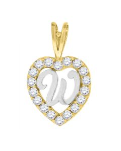 10kt Two-Tone Gold Womens Round Cubic Zirconia CZ Heart Initial Letter