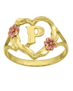 10kt Two-Tone Gold Womens Heart Letter Initial