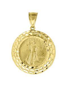 10kt Yellow Gold Womens Liberty Charm Fashion Pendant