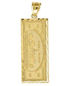 10kt Yellow Gold Mens Dollar Bill Vertical Charm Pendant