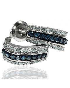 Blue diamond hoop earrings white diamonds white gold half round .33ct White gold