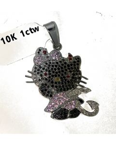 Custom Made Hello Kitty Charm 10K White Gold Black and White Diamonds With Pink