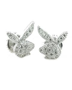 Sterling Silver Bunny Earrings With Cz Fashion Stud Earrings Mens or Womens