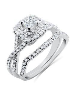 14K White Gold Bridal Set Princess Cut Diamond Solitaire Center 1/2ctw