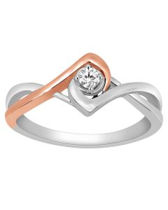 10K White Gold Ring 0.09ct Diamond Engagement Ring Rose Gold Tone 8mm