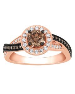 14K Rose Gold Cognac Diamond Engagement Ring 0.9ct Halo Style Chocolate
