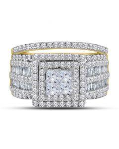 14K Gold Bridal Set Wedding Rings 2.00ctw Princess Cut Baguette and Round Diamonds