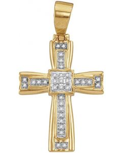 10kt Yellow Gold Mens Diamond Cross Religious Charm Pendant 1/10 Cttw