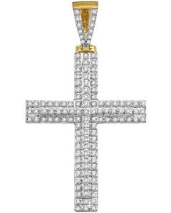 10kt Yellow Gold Mens Diamond Cross Religious Charm Pendant 1/3 Cttw