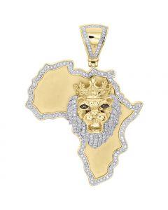 10K Yellow Gold Fn Diamond Lion Head & Africa Map Outline Pendant Charm