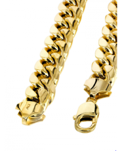 Mens Hollow Miami Cuban Link Chain 10K Gold 5.5mm Wide With Lobster Clasp