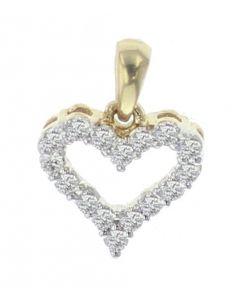 14K Yellow Gold Beautiful Heart Shape Charm Pendant With 0.25ctw Diamonds