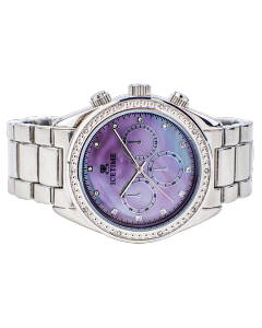 Mens Diamond Watch Ice Time 42mm Dial 0.10ctw Diamond Purlple M.O.P Dial