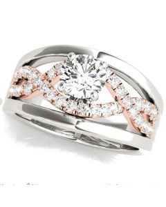 0.25ctw Diamond Semi Mount With Two Rows of Diamonds Infinity Style Fits 1ct Round Solitaire 14KW