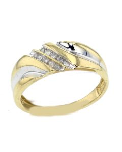 14K Gold Mens Wedding Band Ring 0.12ctw 8mm Wide Two Tone