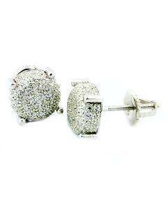 Stud Earrings Cubic Zarcoan Sterling Silver 8mm Wide Screw Back Cushion Shaped