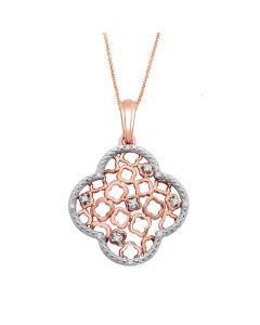 Womens Diamond Pendant and Necklace Set 10K Rose Gold 0.06ctw 18 Inch