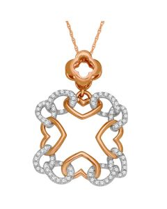 Womens Diamond Pendant And Necklace Set 1/5cttw 10K Rose Gold 18 Inch Necklace