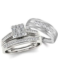 10K White Gold Wedding Ring Set His and Hers 3pc Trio 3/4ctw Classic Cathedral Style