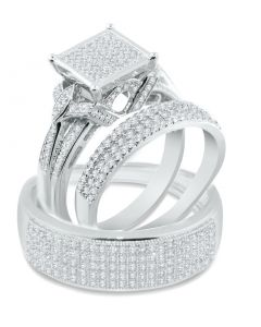 1.00ct w Diamond His and Her Trio Rings Set 10K White Gold