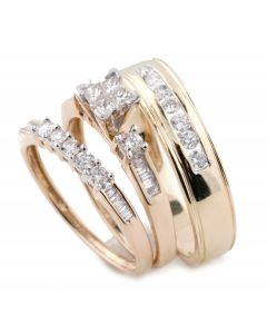 e8b2c180ec 10K Gold His and Her Rings Trio Wedding Set Princess Cut Baguette and Round  Diamonds 3pc