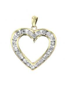 Diamond Heart Pendant Womens 10K Gold 1/2ctw Round Diamonds 24mm Heart With Diamonds