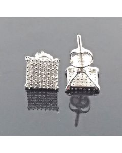 Diamond Earrings White Gold 0.29ct 9mm Square Princess Style Pave 10K Screw Back