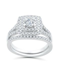 1.00ctw Cushion Halo Diamond Engagement Wedding Ring Set 14K White Gold