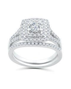 1.00ctw Cushion Halo Diamond Engagement Wedding Ring Set 14K White Gold