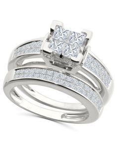 14K White Gold Princess Cut Bridal Set Engagement Ring And Band 1.50ctw