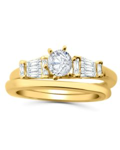 14K Gold Engagement Ring Set For Her 3/4ctw Diamonds Baguette and Round
