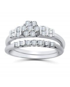 10K White Gold Diamond Cluster Wedding Ring Set For Her 1/2ctw