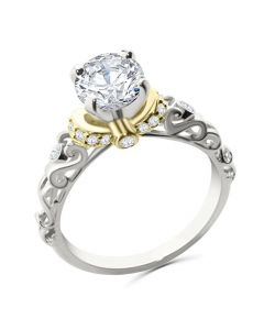 14K White Gold and Yellow Tone Engagement Ring Semi Mount Setting Fits Upto 1ct Solitaire 0.18ctw