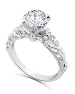 14K White Gold Engagement Ring Semi Mount Setting Fits Upto 1ct Solitaire 0.18ctw
