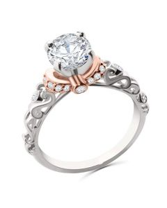 14K White Gold and Rose Gold Tone Engagement Ring Semi Mount Setting Fits Upto 1ct Solitaire 0.18ctw