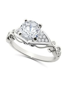 14K White Gold Semi Mount Engagement Ring Setting 1/10ctw Fits 1ct Solitaire