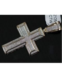 10K Gold Mens Cross Pendant Genuine Diamonds 1/2ctw 1.75 Inch Tall