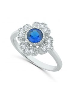 Vintage Blue Simulated Sapphire Ring Sterling Silver and Simulated Diamonds 13mm Wide