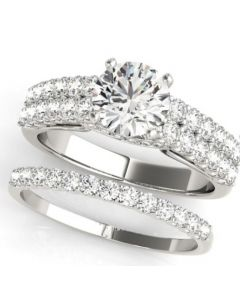 14K White Gold 1.30ctw Bridal Set With 0.5ct Center Round Solitaire