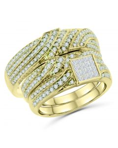 14K Gold Bridal Wedding Ring Set His and Her Rings Trio Set 1.00ctw Diamonds Princess Cuts and Round