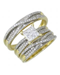14K Gold His and Her Rings Set Trio Wedding Rings 1.00ctw Diamonds Princess Cut and Round