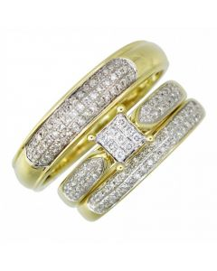 14K Gold Trio Rings Wedding Rings Set 0.65ctw Diamonds Princess Cuts and Round