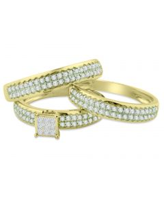 14K Gold Trio Rings Wedding Rings Set 0.60ctw Diamonds Princess Cuts and Round