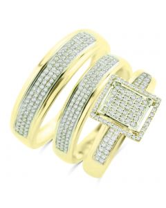 10K Gold Trio Rings Set Wedding Rings Set Mens and Womens 0.60ctw