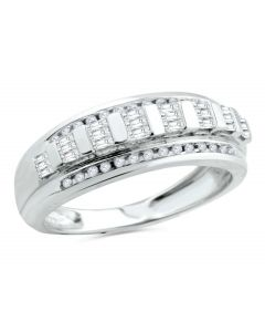 10K White Gold Mens Wedding Band Ring Baguettes and Round Diamonds 0.45ctw 8mm Wide Band (i2/i3, I/j)