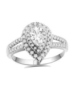 10K White Gold Tear Drop Engagement Ring Moissanite Solitaire and Diamonds Split Sides 0.42ctw (i2/i3, I/j)