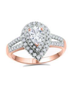 10K Rose Gold Tear Drop Engagement Ring Moissanite Solitaire and Diamonds Split Sides 0.42ctw (i2/i3, I/j)